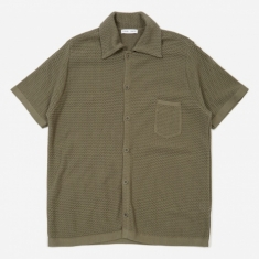 CMMN SWDN Wes Knitted Short Sleeve Shirt - Grey