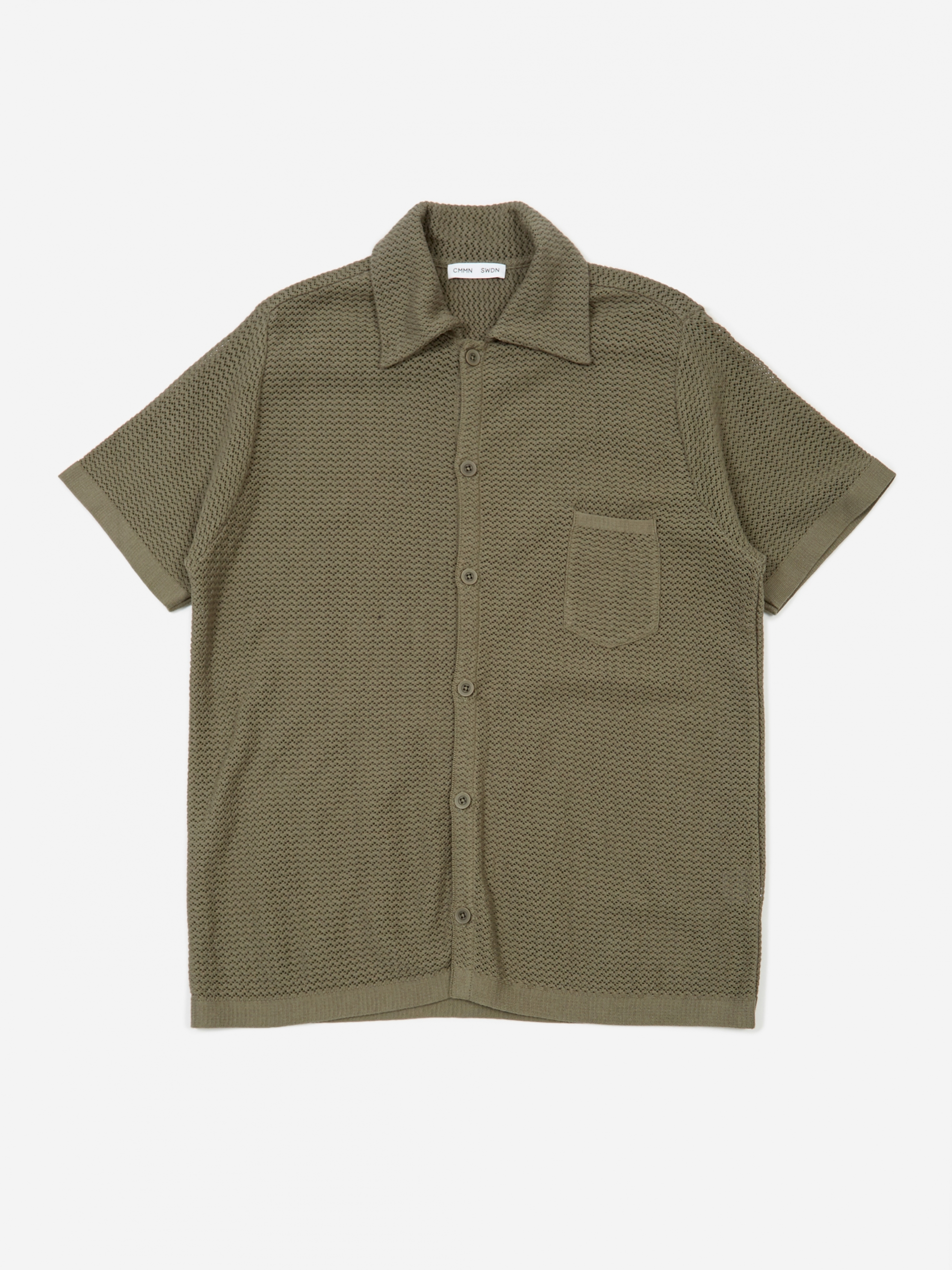 6a463b2588 CMMN SWDN Wes Knitted Short Sleeve Shirt - Grey