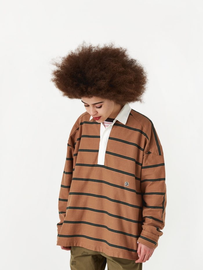 Stand Alone Longsleeve Rugby Top - Brown/Green (Image 1)