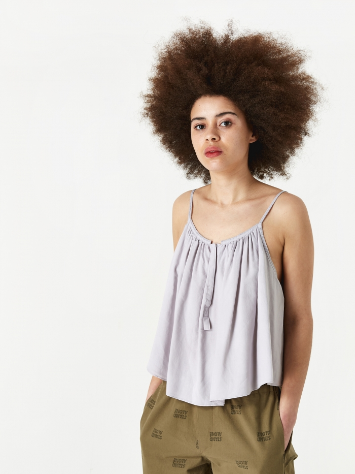 Stand Alone Gathered Cami - Light Grey (Image 1)