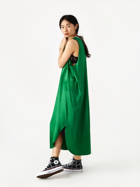 Raw Edge Dress - Green