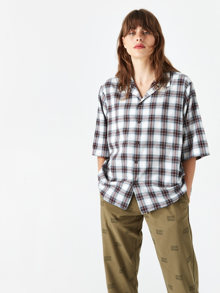 Stand Alone Short Sleeve Check Shirt - Red Check (Image 1)