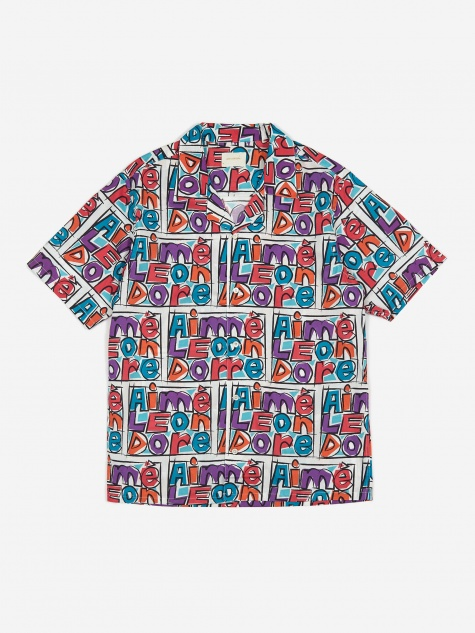 Crayon Print Leisure Shirt - Purple Tape Combo