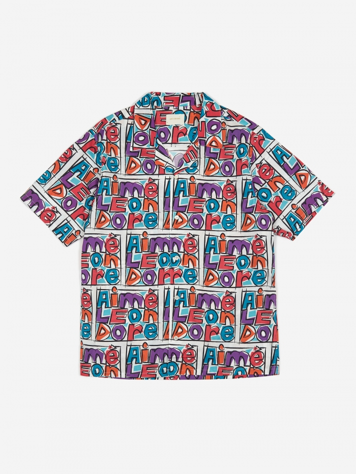 Aime Leon Dore Crayon Print Leisure Shirt - Purple Tape Combo (Image 1)