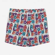 Aime Leon Dore Crayon Print Swim Trunks - Purple Tape Combo