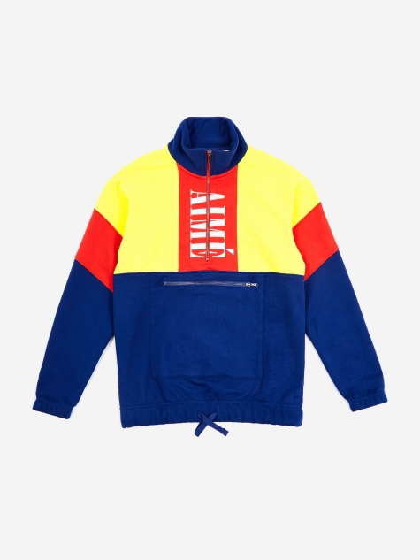 Colour Blocked Quarter Zip Pullover - Highlighter