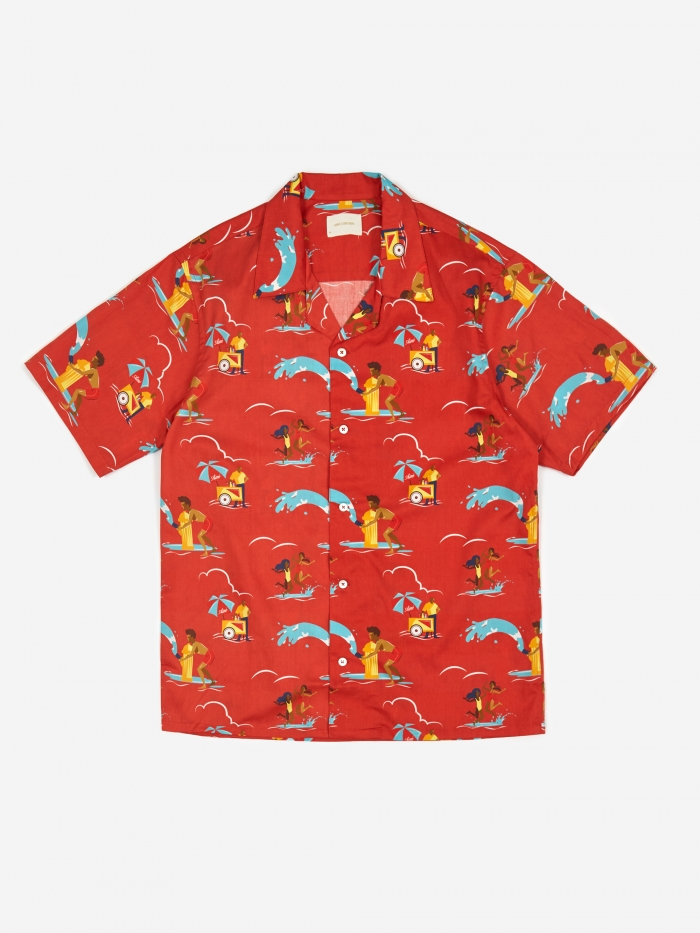 Aime Leon Dore Block Party Leisure Shirt - Mineral Red Combo (Image 1)