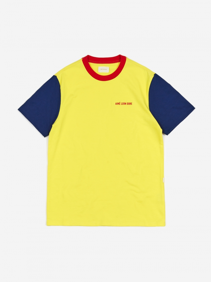 Aime Leon Dore Colour Blocked Logo T-Shirt - Highlighter Yellow (Image 1)