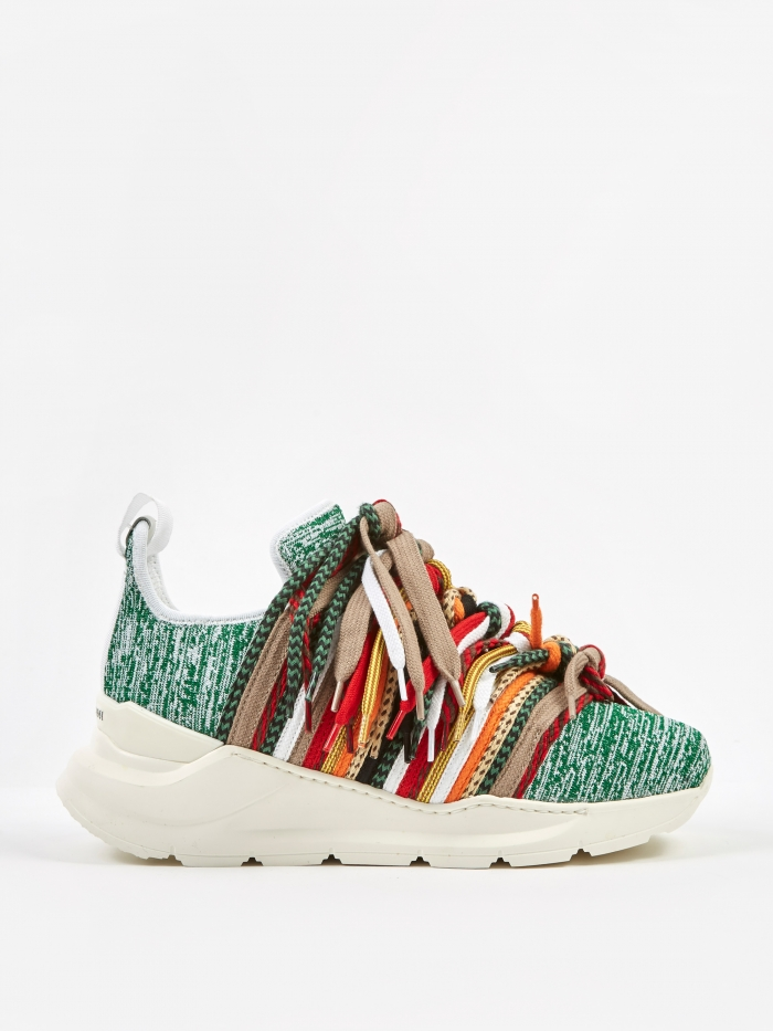 Ports 1961 Knitwear Lace Trainers - White/Green (Image 1)