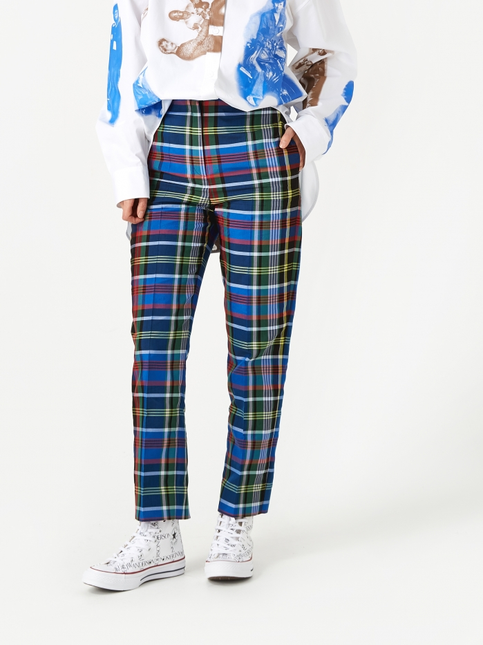 Ports 1961 Check Long Trousers - Multi (Image 1)