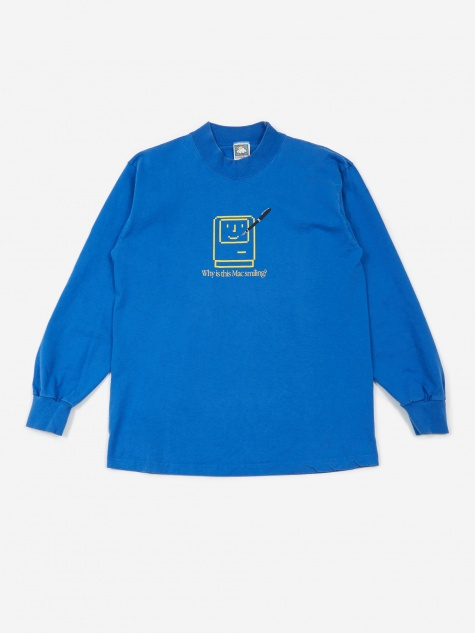 Apple Why Is This Mac Smiling LS Mockneck T-Shirt - Blue