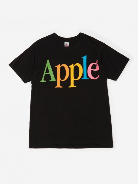 Apple Rainbow Apple Logo T-Shirt - Black