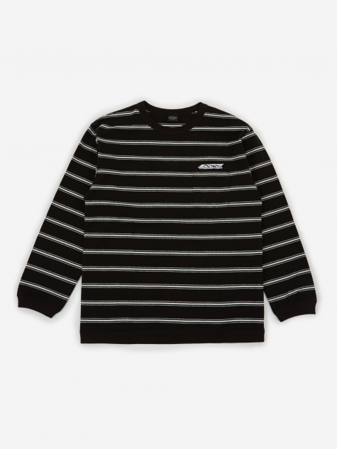 Striped Crepey Longsleeve T-Shirt - Black