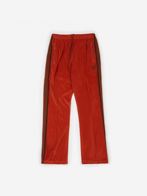 Narrow Velour Track Pant - Brick