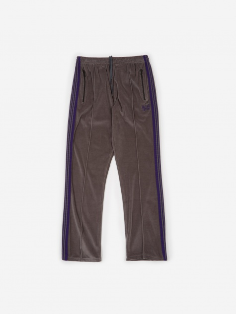 Narrow Velour Track Pant - Grey