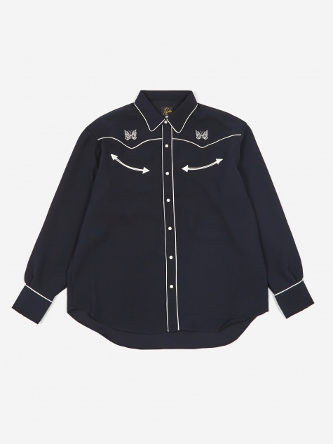 Papillon Embroidered Cowboy Shirt - Navy