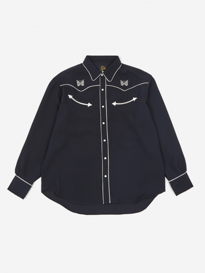 Needles Papillon Embroidered Cowboy Shirt - Navy (Image 1)