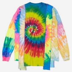 Needles Rebuild 5 Cuts Longsleeve Tie-Dye T-Shirt Size Small 2 -