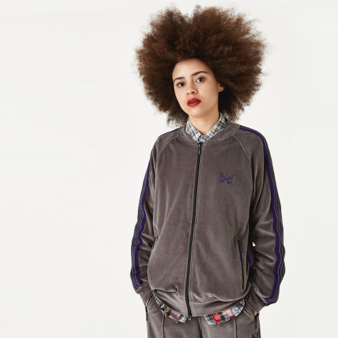 Velour Track Jacket - Grey