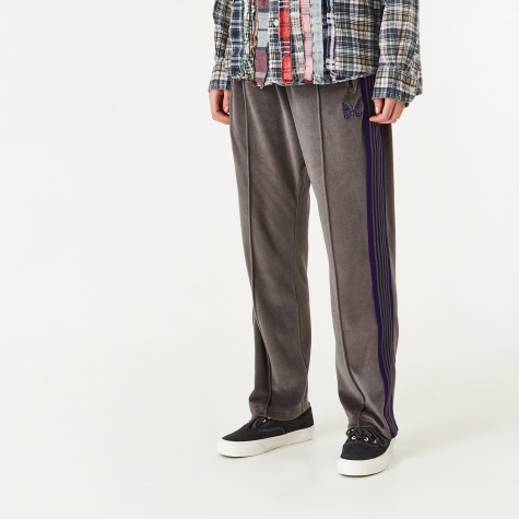 Velour Narrow Track Pant - Grey