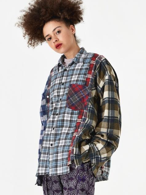 Wide 7 Cuts Flannel Shirt One Size 4 - Assorted