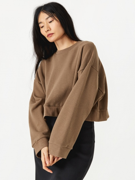 Cropped Sweatshirt - Coffee