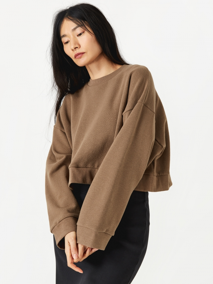 Can Pep Rey Cropped Sweatshirt - Coffee (Image 1)