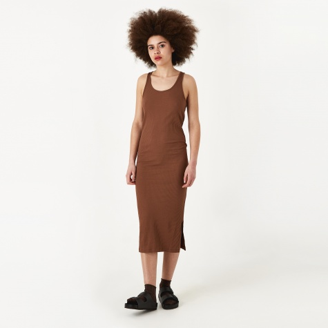 Rib Racer Dress - Brown