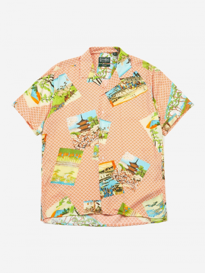 Gitman Vintage Camp Shirt - Orange Hokusai (Image 1)