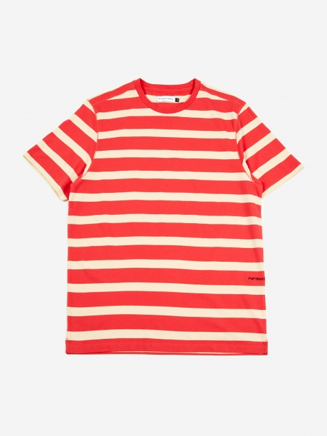 Big Stripe T-Shirt - Coral/Off White