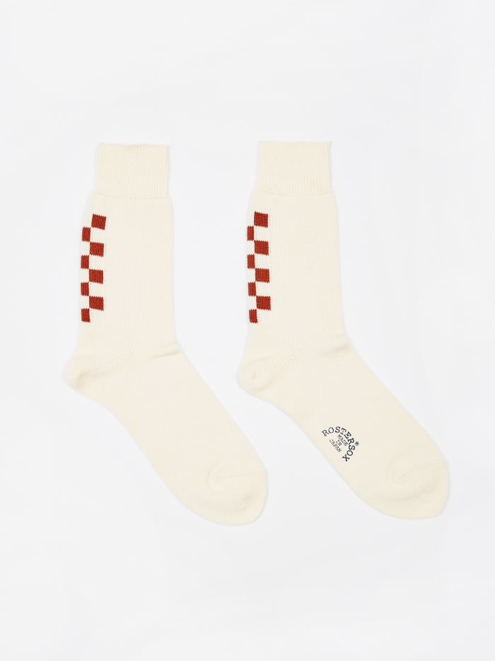 Rostersox Navin Socks - Ivory/Red (Image 1)