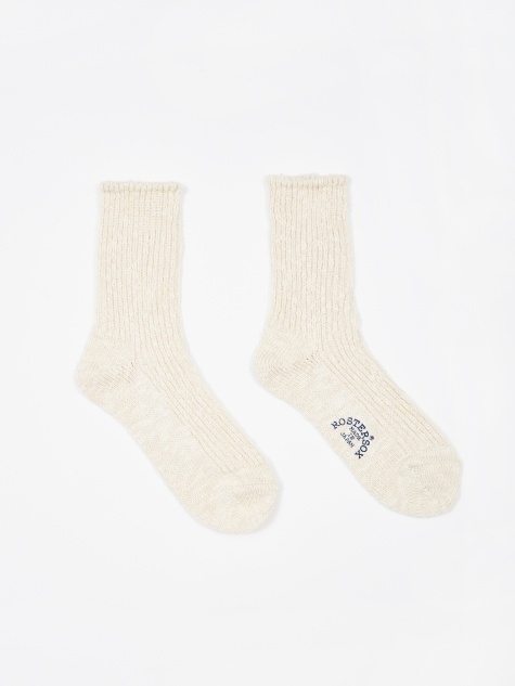 Cotton Slub Short Socks - White