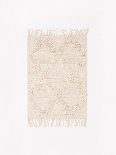 Wool Cross Mat 50x70cm - Natural