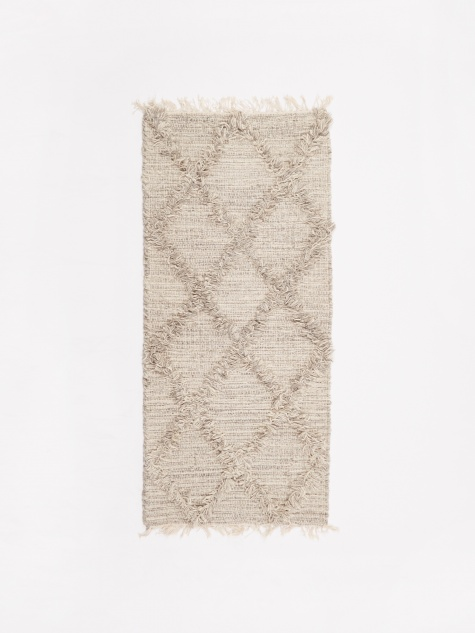 Wool Cross Mat 50x120cm - Grey