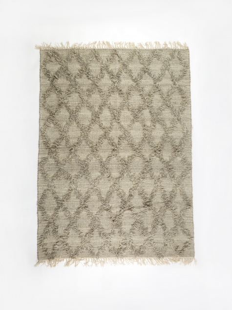 Wool Cross Rug 140x200cm - Grey