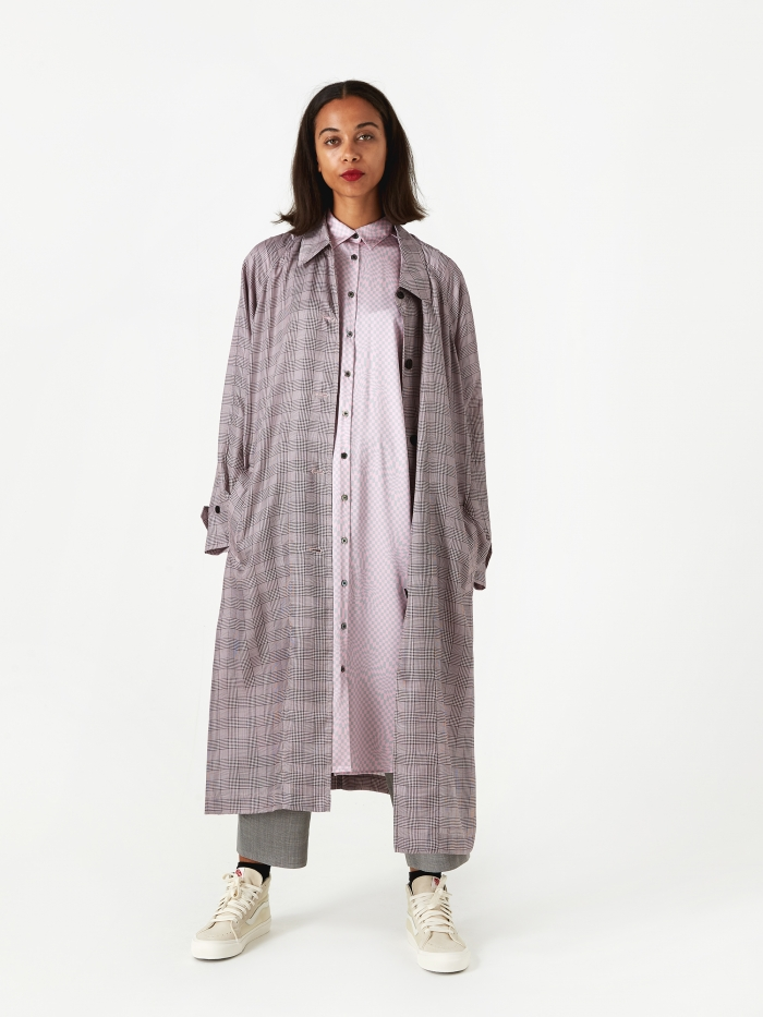 6397 Raglan Trench Coat - Pink Plaid (Image 1)