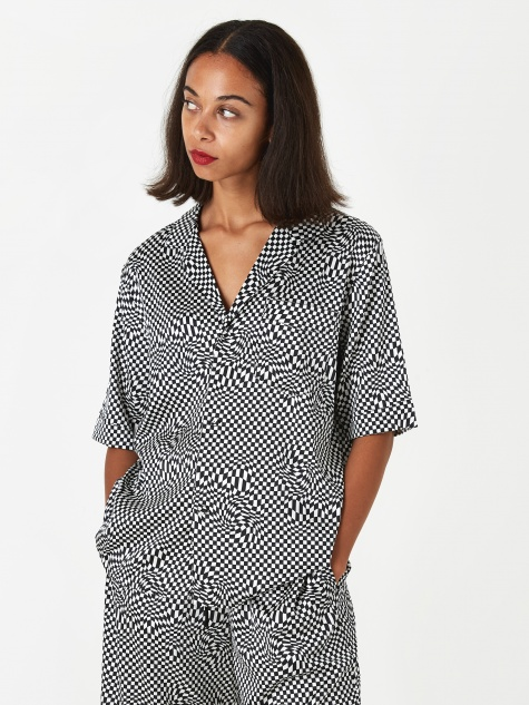 Short Sleeve Pyjama Shirt - Black/White