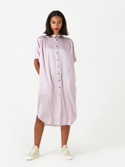 Oversized Shirt Dress  - Pink/Grey