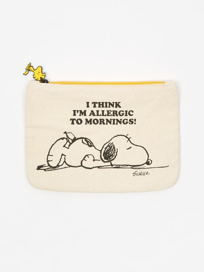 Peanuts Zipper Pouch - Allergic to Mornings (Image 1)
