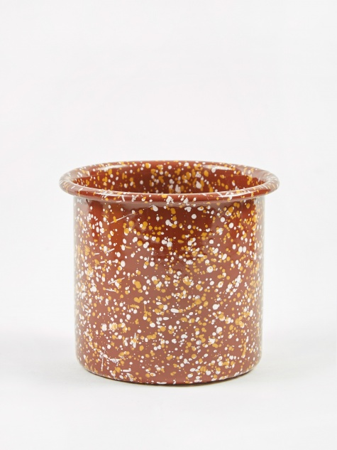 Enamel Sprinkle Enamel Herb Pot - Brown