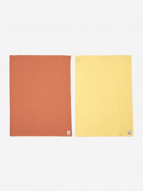 Waffle Tea Towel Set Of 2 - Terracotta And Yellow