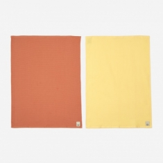 HAY Waffle Tea Towel Set Of 2 - Terracotta And Yellow