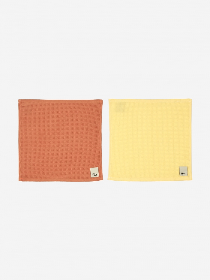 HAY Waffle Dish Cloth Set Of 2 - Terracotta And Yellow (Image 1)