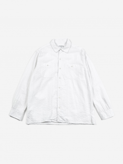 Classic Shirt - White Seersucker Dobby Strip