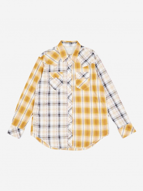 Western Shirt - Tan Dobby Shadow Plaid