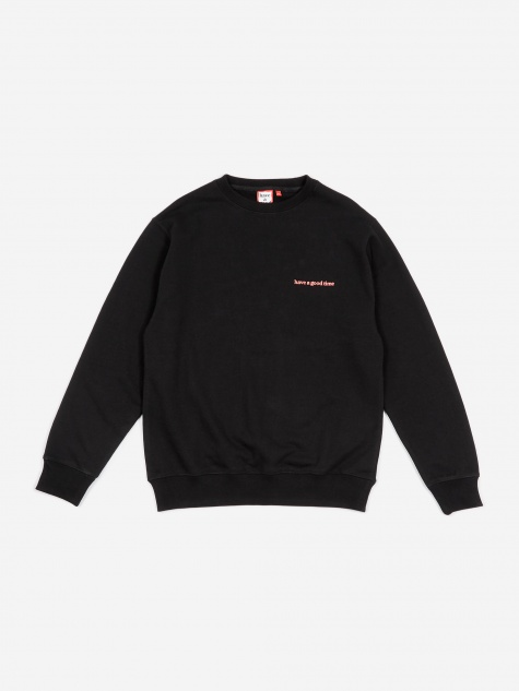 Side Logo Crewneck Sweatshirt - Black