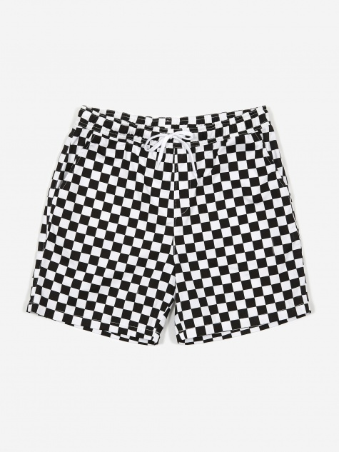 Checker Border Shorts - White/Black