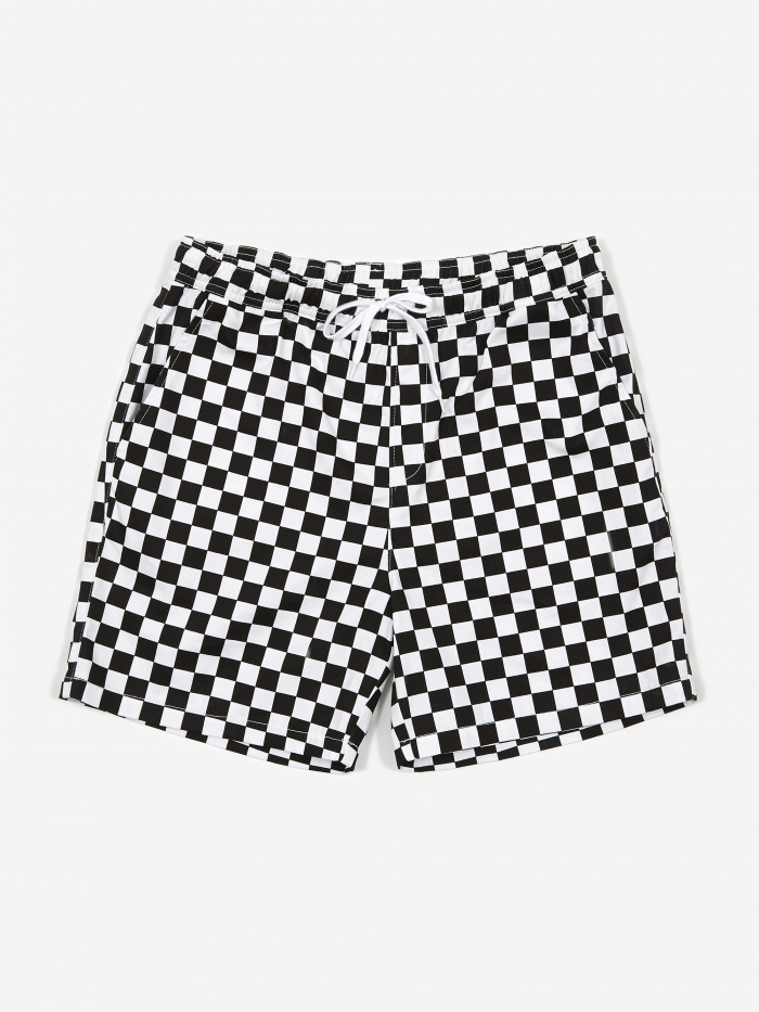 Have A Good Time Checker Border Shorts - White/Black (Image 1)