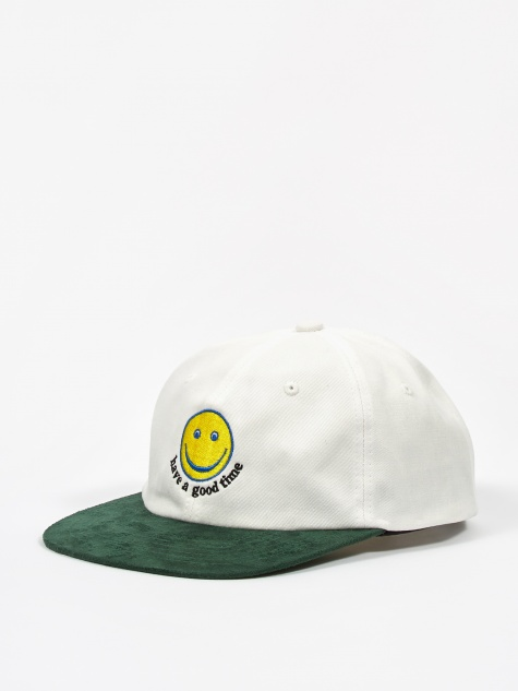 Smile 6 Panel Cap - White/Green