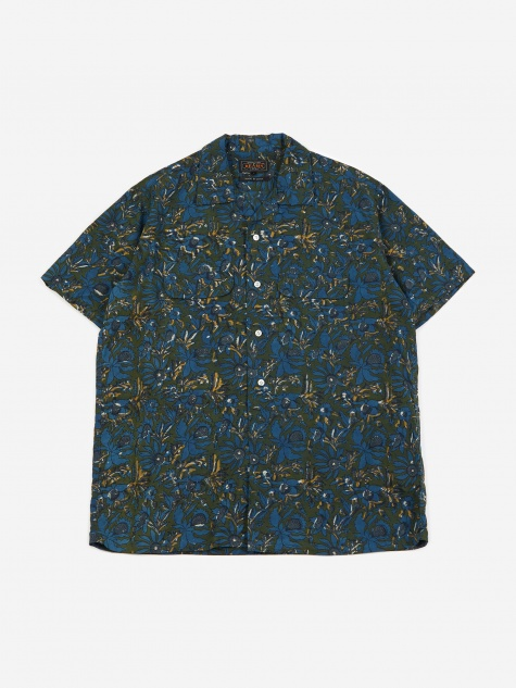 Short Sleeve Open Collar Batik Print 2 Shirt - Blue